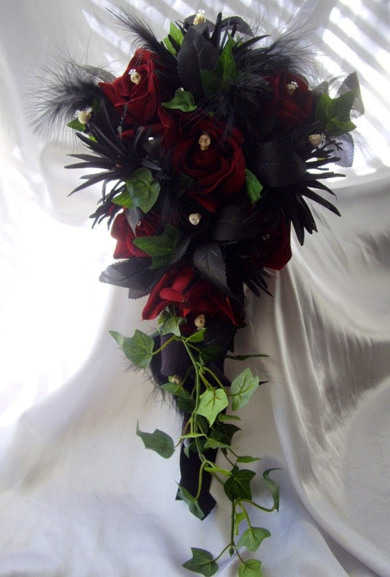 Gothic Day Of The Dead Dark Red Rose Skull And Ivy Wedding