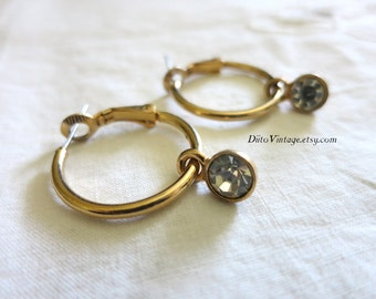 Vintage Rhinestone Hoop Earrings, Round Earrings, Stud Earrings, Hoop Earrings, Hoops, Goldtone, Rhinestone Earrings