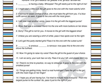 printable baby boy shower activity pass the prize instant download