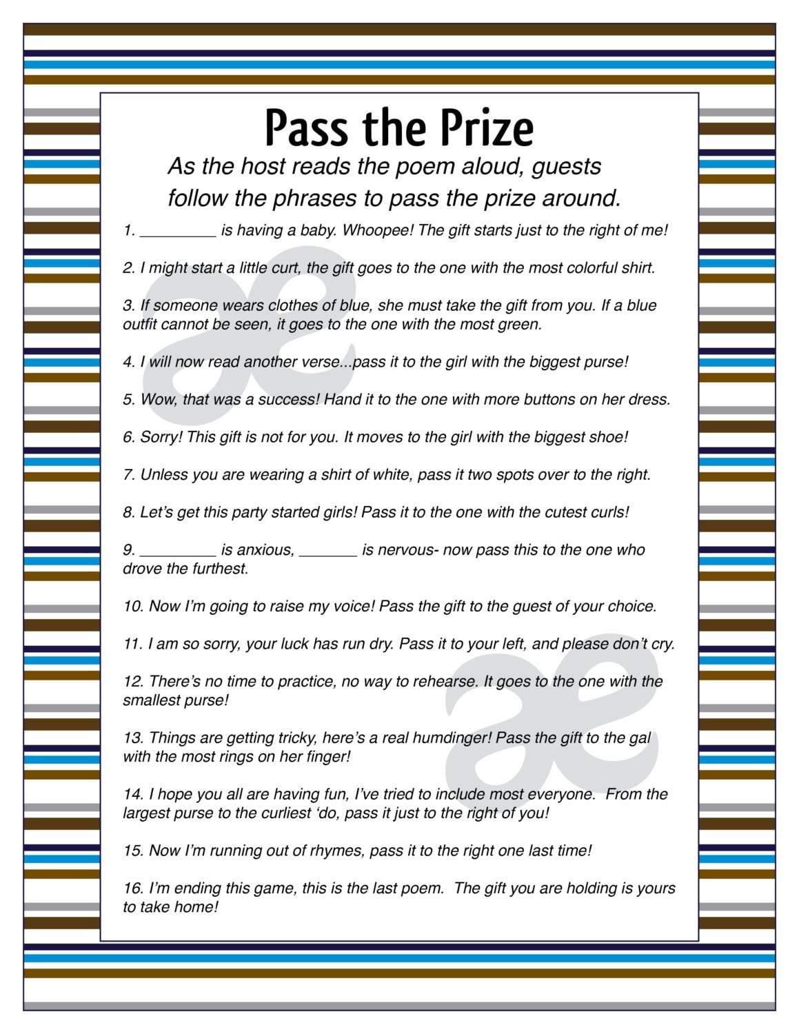 Satisfactory image regarding baby shower pass the prize rhyme printable