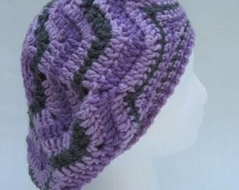 crochet tam, purple tam, purple slouchy, striped beret, crochet beret, acrylic beret,