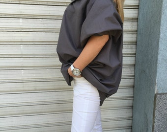 Women Extravagant Shirt / Asymmetric Cotton shirt / Oversize white shirt / Grey asymmetric top / EXPRESS SHIPPING / MD 10606