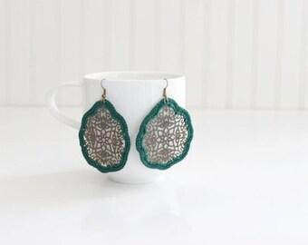 Forest Green Crochet Medallion Earrings