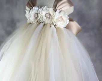 Ivory Tan Flower girl dress Lace chiffton Tutu dress Wedding dress Birthday dress Newborn to 8T