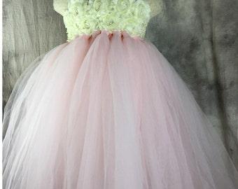 TUTU Flower girl dress Pear Pink Ivory Tutu dress Wedding dress Birthday dress Newborn 2T to 8T