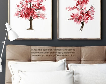 Mother's Day, Cherry Blossom Set of 2, Japanese Art, Pink Home Decor, Watercolor Painting Tree, Gift Ideas
