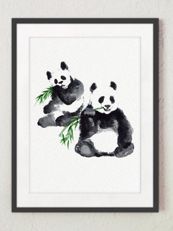 Deux panda dessin aquarelle bear noir et blanc peinture - Dessin animaux noir et blanc ...