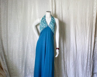SALE - Blue Halter Backless Maxi Dress - M
