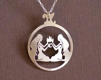 Gemini - Hand Cut Sterling Silver Pendant, Necklace, Twins, Zodiac