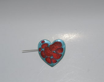 Clearance****sale****Blue and red Heart shape hand painted brooch****clearance****sale****sale