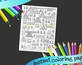 Town Buildings coloring page printable - INSTANT printable coloring page - adult coloring - house