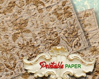 GOLD FLORA -  2 SHEETs Printable wrapping papers for Scrapbooking, Creat - Download and Print