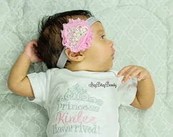 Personalized custom princess has arrived new baby crown embroidered bodysuit gown