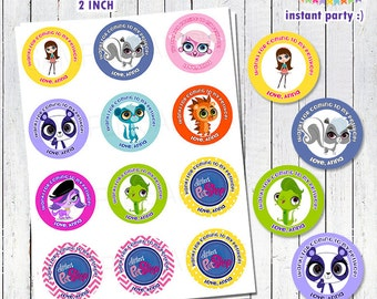 Littlest Pet Shop Favor Tags / Cupcake Toppers 2 Inch - Personalized with your Info - You Print