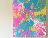 Abstract Pink Art Pink Yellow Blue Art Psychedelic Painting Geometric Art Tie Dyed Art Acrylic Canvas Art Pink Painting 20 x 24 canvas