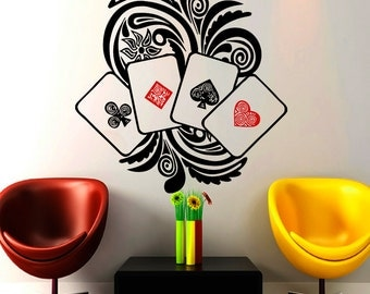 Wall Decals Poker Cards Casino Decal Vinyl Sticker Home Decor Kitchen Interior Design Bedroom Dorm Living Room Wndow Decals NA318