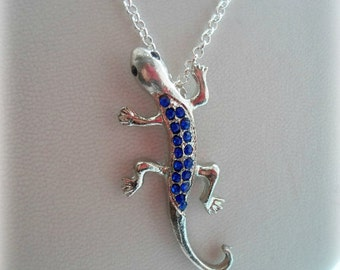 Lizard Necklace - Silver or Gold Plated, Rhinestoned - 6 Colours to Choose From