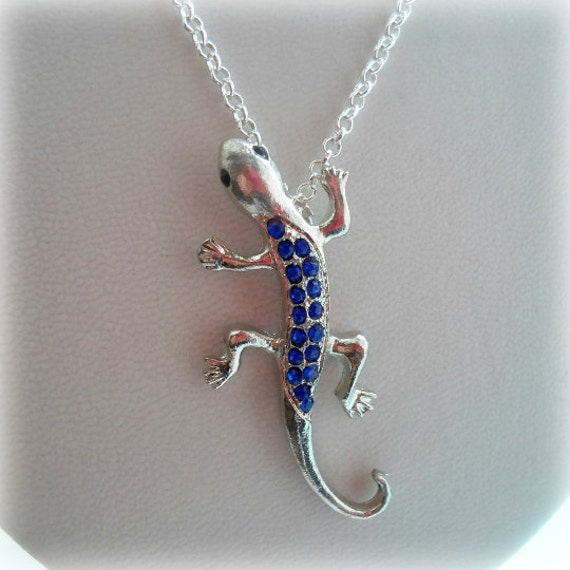 lizard necklace silver or gold plated rhinestoned 6