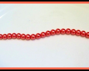 Pearls-12mm Glass Pearls-Red Orange Faux Pearls-Beading Supplies-Jewelry Supplies-Destash-DIY Jewelry-Beads-Glass Beads-Celestial Luxuries