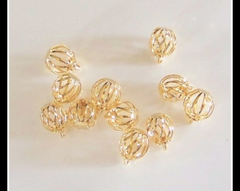 Bead cages, jewelry findings, gold bead cages, round bead cages, gold plated round cages for bracelets, charm bracelets, DIY bracelets, bead