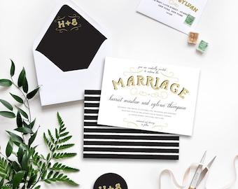Old Glamour Custom Wedding Invitations Sample