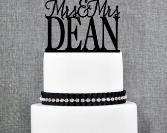 Same Sex Wedding Cake Topper with Custom Last name, Same Sex Topper in Modern Font- (T152)