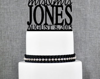 Same Sex Wedding Cake Topper with Modern font and Date, Same Sex Cake in Script Font- (T156)