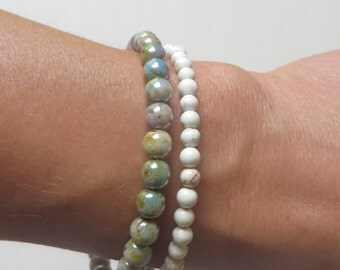 Beach Summer Blue Green Glass Bead and Howlite Bead Memory Wire Bracelets Buy Together or Individually