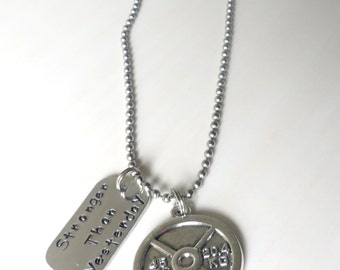 Stronger Than Yesterday Workout Weight Plate 45 Pounds Charm Necklace YOU Choose Necklace Length and Ball Chain Size