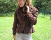 Women's Corduroy Brown Jacket Embroidered Buttons Classic Blazer Large Size