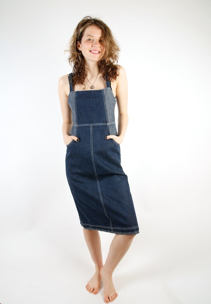 midi blue denim overalls skirt overalls dress size