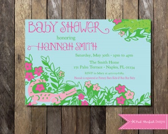 Lilly Pulitzer Baby Shower Invitation, Lilly Pulitzer Invitation, Preppy Invitation, Preppy Baby Shower, Later Gator, Baby Shower Invitation