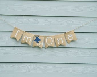 I'm One Birthday Burlap Banner - Airplane Boy 1st Birthday Banner - I Am One