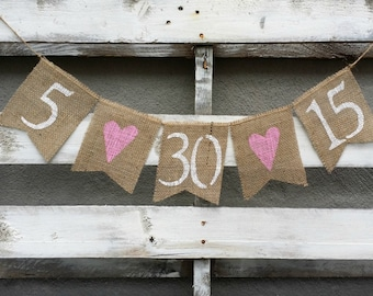 Save the Date Burlap Banner with Pink Hearts, Engagement Banner, Photo Prop, Burlap Wedding Banner, Pregnancy Annoucement