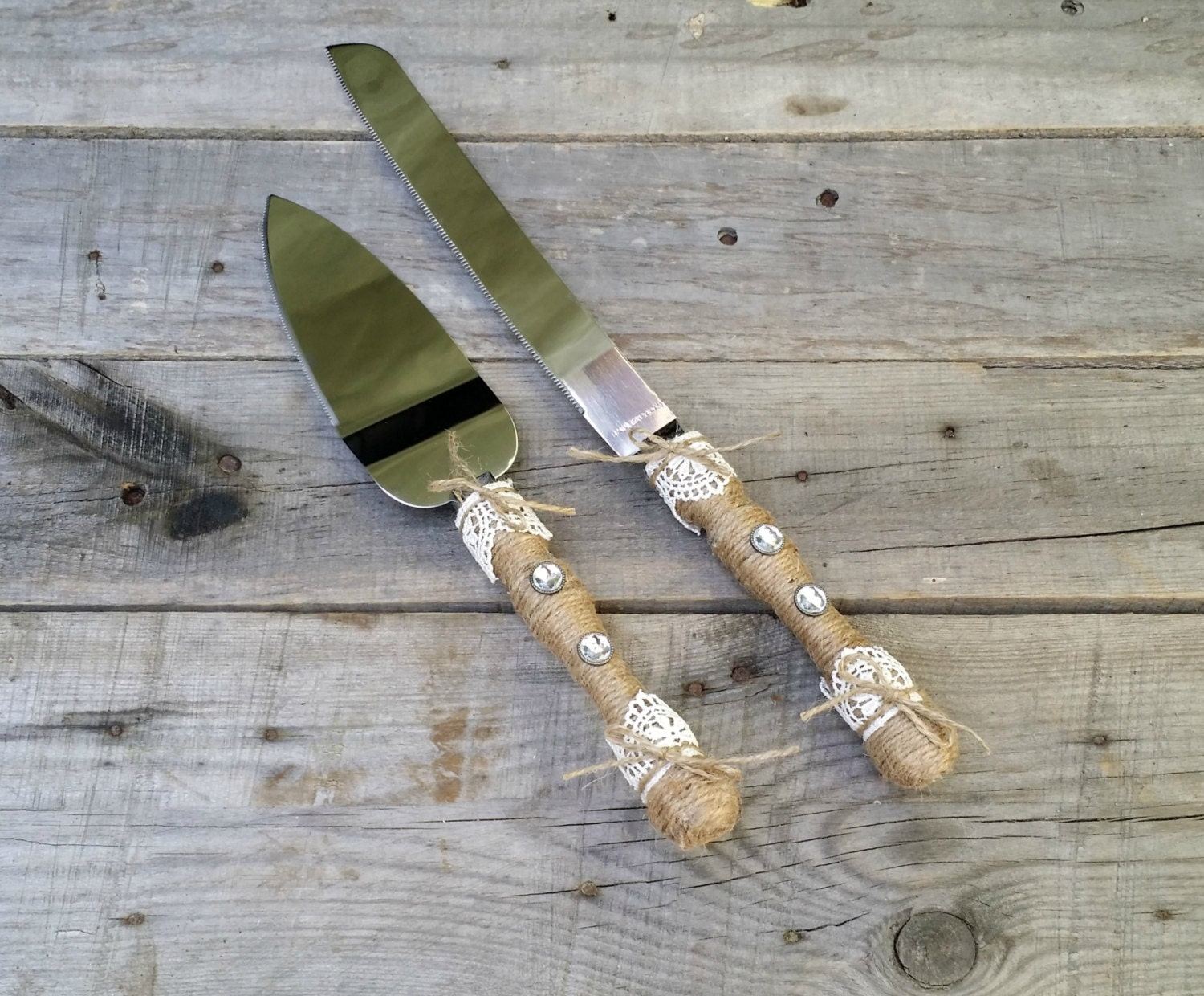 Rustic Wedding Cake And Knife Serving Set Cake Server Set