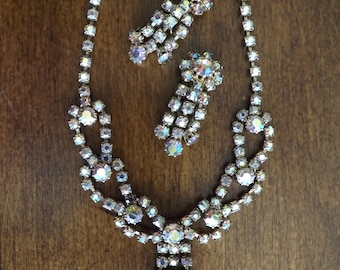 Vintage Aurora Borealis Rhinestone Necklace And Clip Earrings 1940's