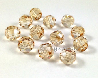 12pcs 8mm GOLDEN SHADOW 5000 Swarovski Crystal Faceted Round Beads