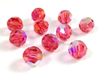 24pcs 6mm PADPARADSCHA AB 5000 Swarovski Crystal Faceted Round Beads