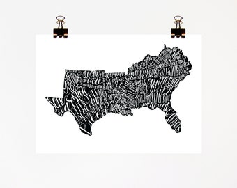 The South Print, 8x10 print, Southern Sayings