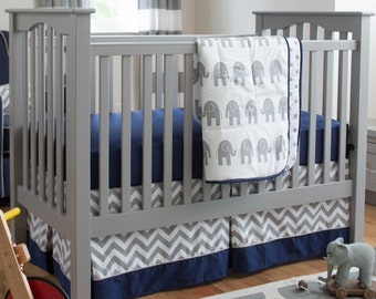 Boy Baby Crib Bedding: Navy and Gray Elephants 3-Piece Crib Bedding Set by Carousel Designs