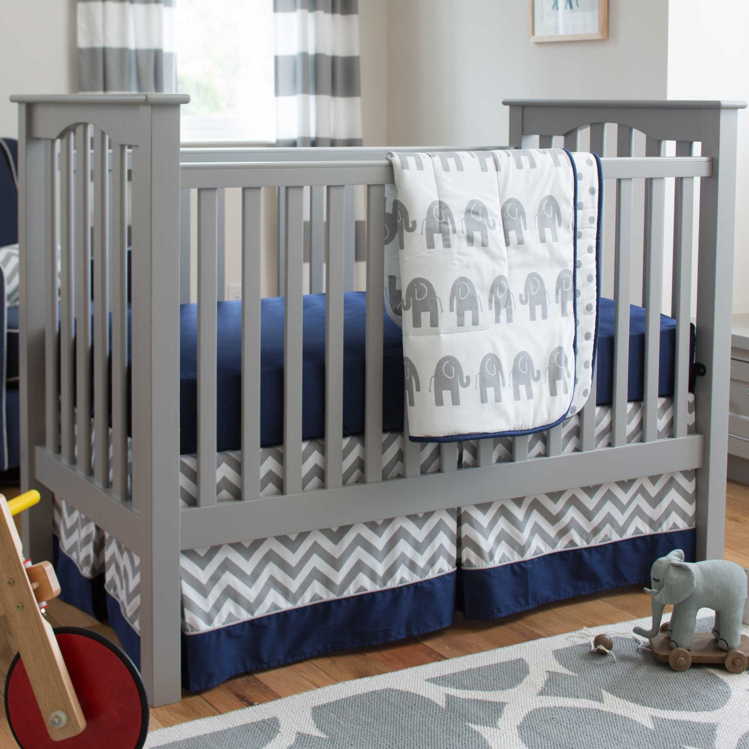 Boy Baby Crib Bedding Navy And Gray Elephants 3 Piece Crib