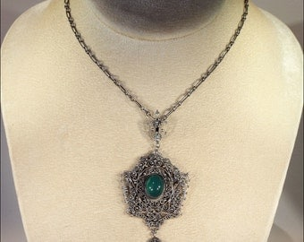 Antique Silver and Chrysoberyl Victorian Necklace, Filigree