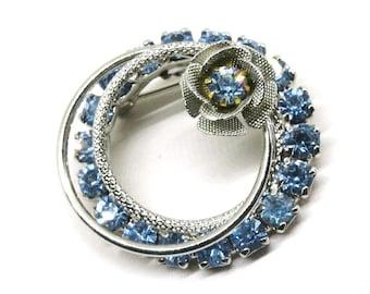 Blue Brooch - Vintage, Circular, Silver Tone, Blue Rhinestone Floral Pin