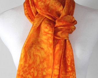 "Orange Silk Scarf, Habotai Silk,  Hand painted silk scarf, 8""x72"" Orange abstract"