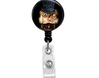 Badge Reel, Steampunk Cat ID Badge Holder, Retractable Badge Reel, Steam Punk Badge Reel, Name Badge, Nurse Badge Holder, RN Badge