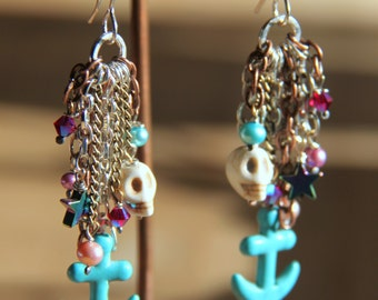 Skull/Anchor Chain Chandelier Earrings with Pearls and Stones