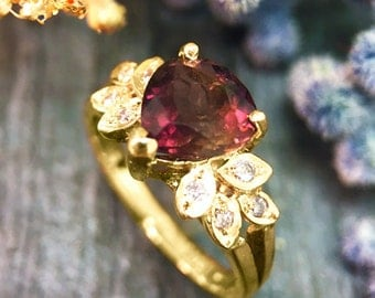 Pink Tourmaline and Diamond Engagement <Prong/Pave> Solid 14K Yellow Gold (14KY) Colored Stone Wedding Ring *Fine Jewelry* (Free Shipping)