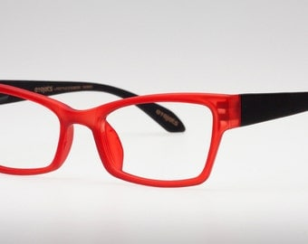 Red Cat Eye Glasses, Reading Glasses, Red eyeglass frames, Rubberized Matte Red Frame/ Matte Black Temples, Cateye, Eyejets Eyewear