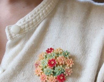 vintage 1930s brooch // 30s floral celluloid brooch