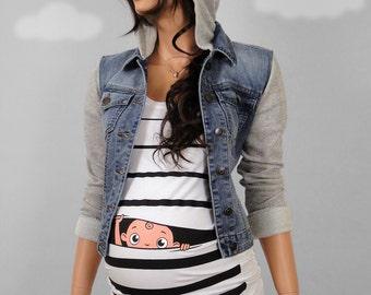 Pregnancy Clothing, Funny Maternity Shirt, Maternity Clothes, Maternity Tshirt, Peekaboo, peek-a-boo, peek a boo, baby peeking